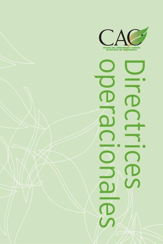 OFICINA DEL OMBUDSMAN Y ASESOR EN MATERIA DE OBSERVANCIA  Directrices operacionales