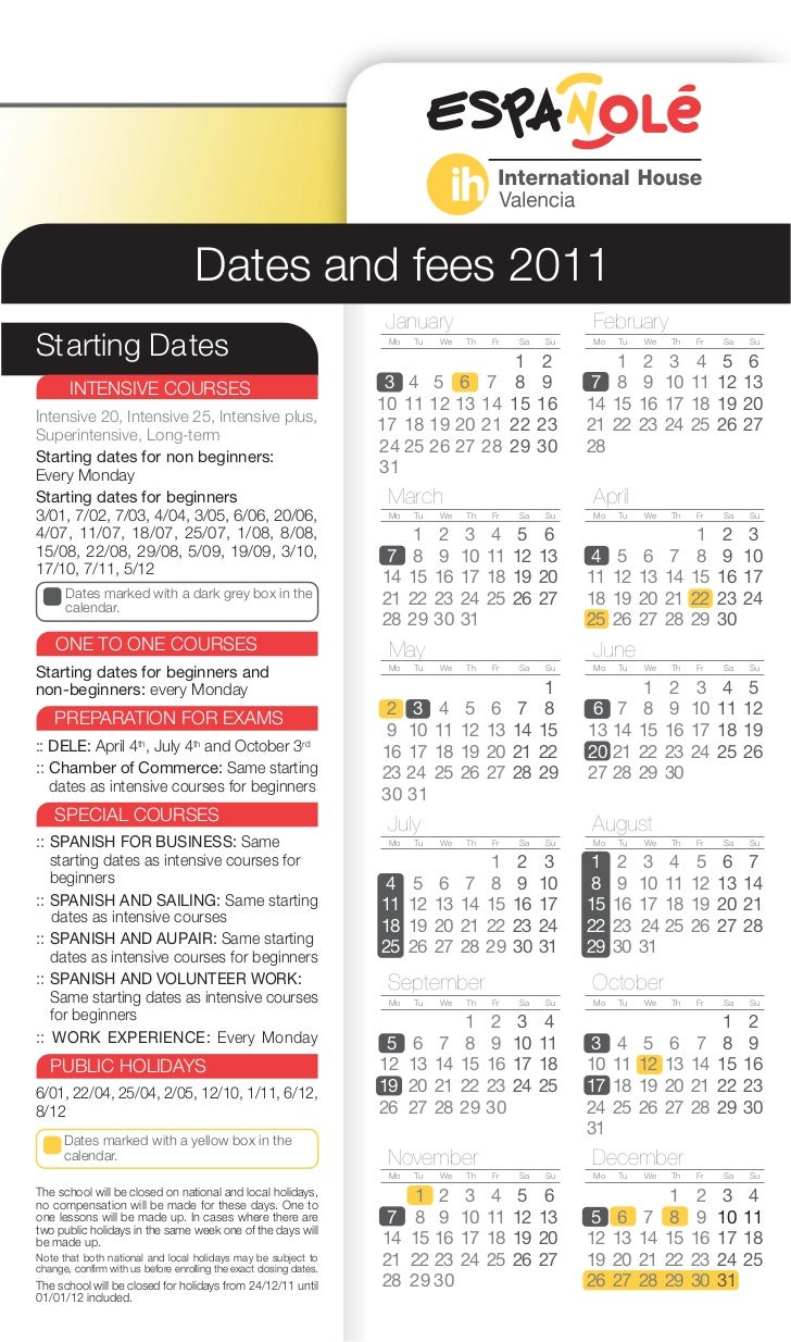 Dates and fees 2011                                                                     January                           ...