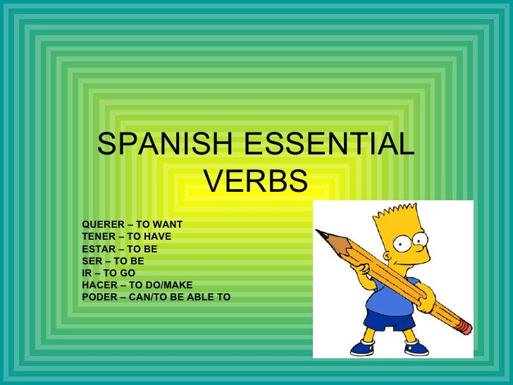 SPANISH ESSENTIAL VERBS QUERER – TO WANT TENER – TO HAVE ESTAR – TO BE SER – TO BE IR – TO GO HACER – TO DO/MAKE PODER – C...