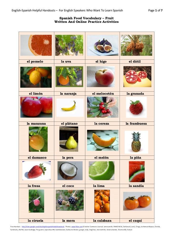 Spanish food vocabulary fruit
