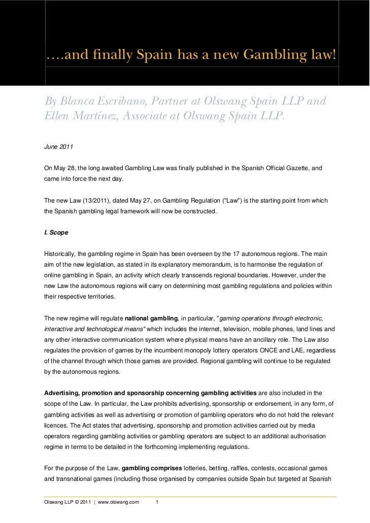 Spanish gambling law analysis by olswang llp (c) 2011 june 2011