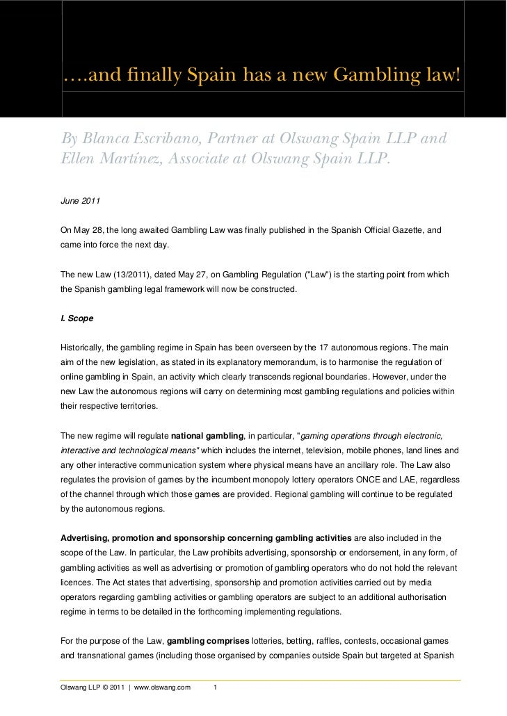 Spanish gambling law analysis by olswang llp (c) 2011 june 2011