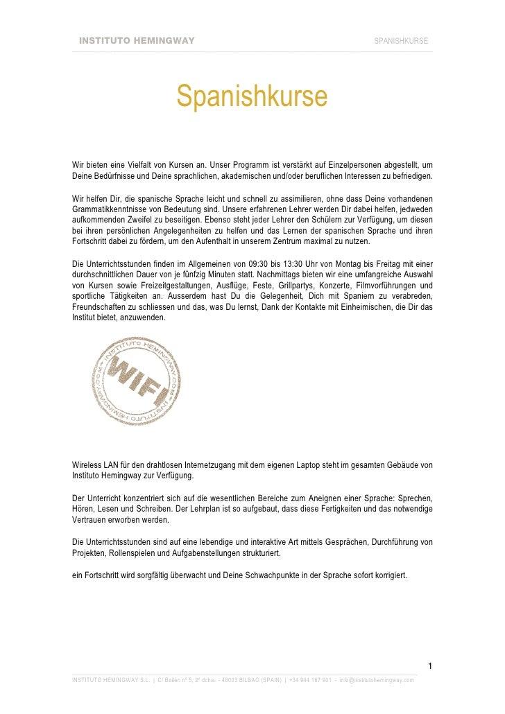 INSTITUTO HEMINGWAY                                                                                     SPANISHKURSE _____...