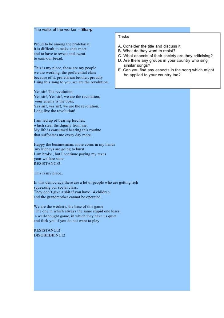 Spanish Social Song Worksheet