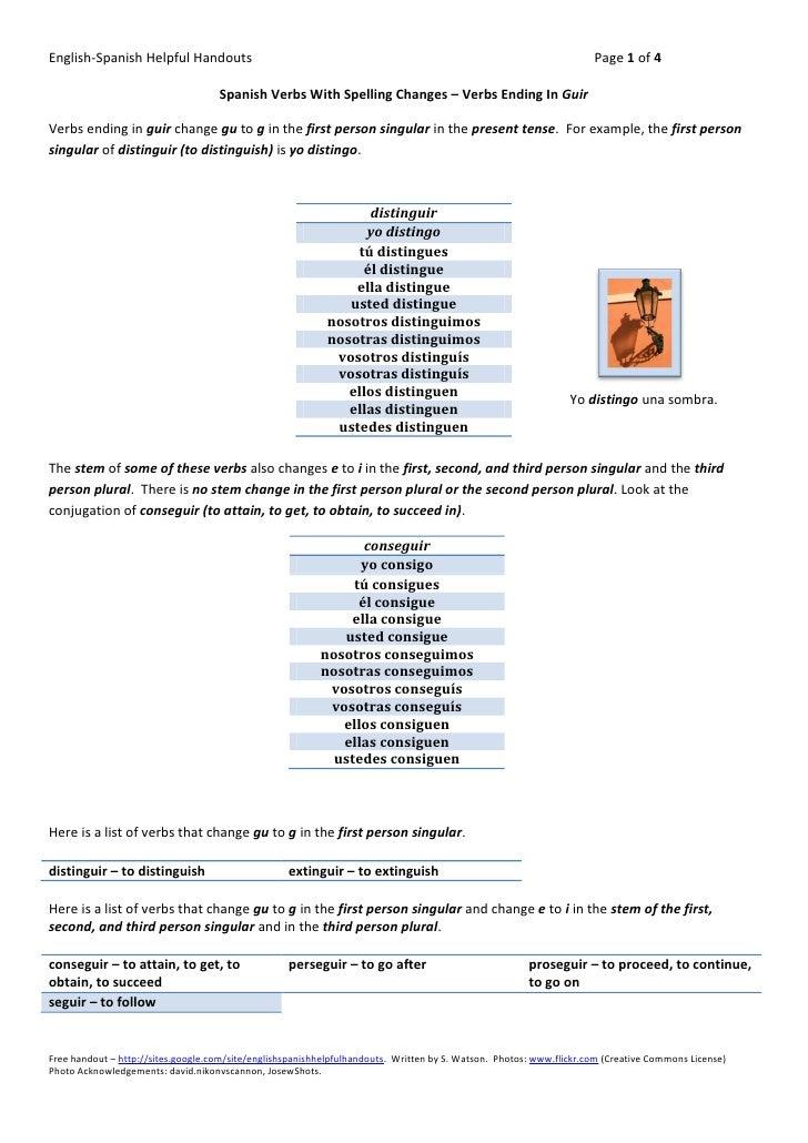 Spanish verbs with spelling changes verbs ending in guir