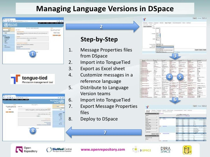 Managing Language Versions in DSpace<br />2<br />Step-by-Step<br />Message Properties files from DSpace<br />Import into T...