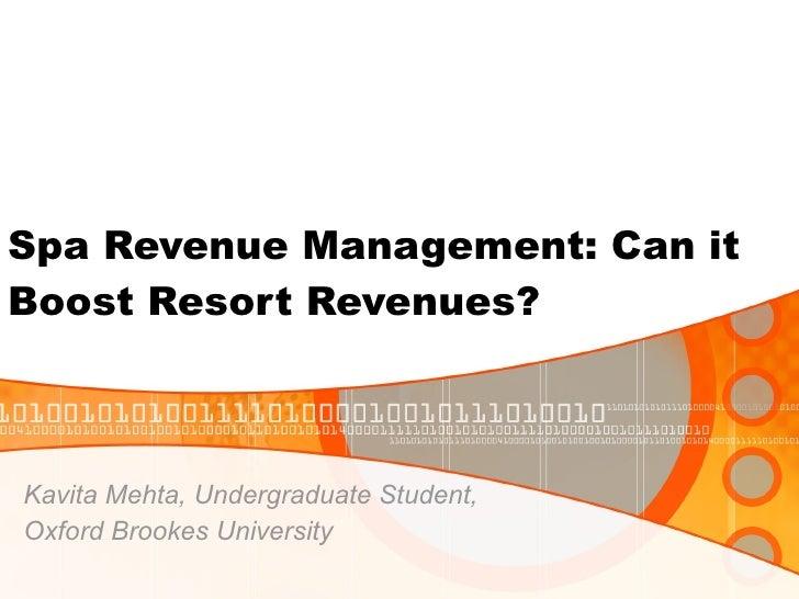 Spa revenue management