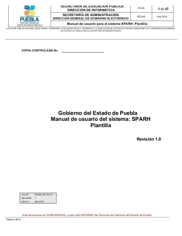 Manual de usuario del sistema: SPARH Plantilla