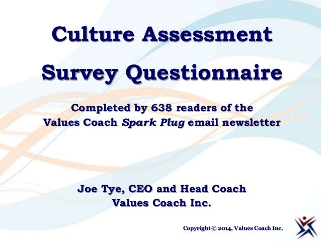 Culture Assessment Survey Questionnaire Completed by 638 readers of the Values Coach Spark Plug email newsletter  Joe Tye,...