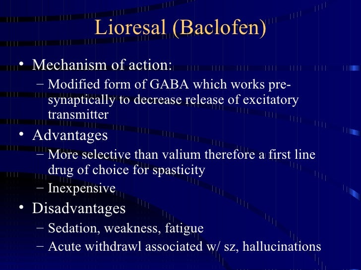 Spasticity Management 1 5 2007 ~ Baclofen Dosage For Anxiety