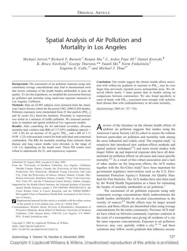 ORIGINAL ARTICLE                                      Spatial Analysis of Air Pollution and                               ...