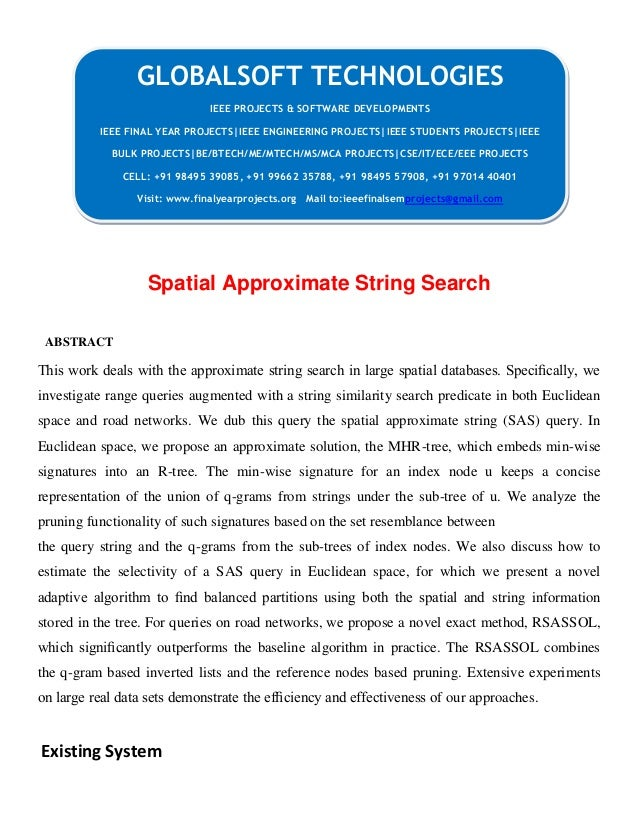 JAVA 2013 IEEE CLOUDCOMPUTING PROJECT Spatial approximate string search