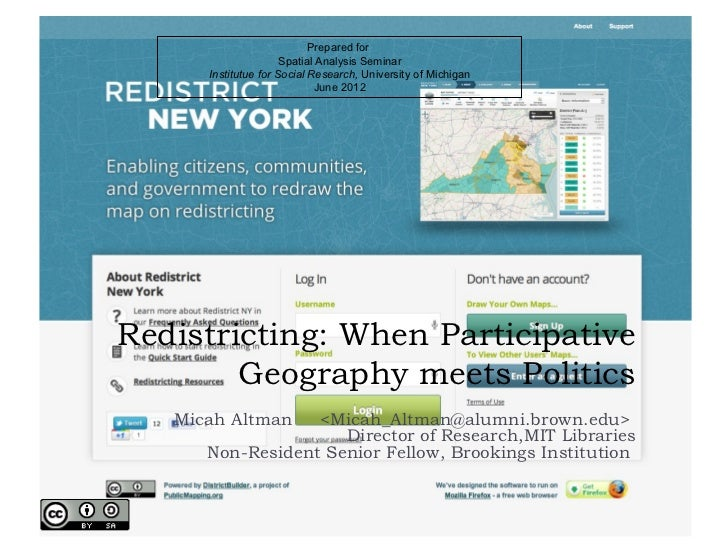 Redistricting: When Participative Geography meets Politics
