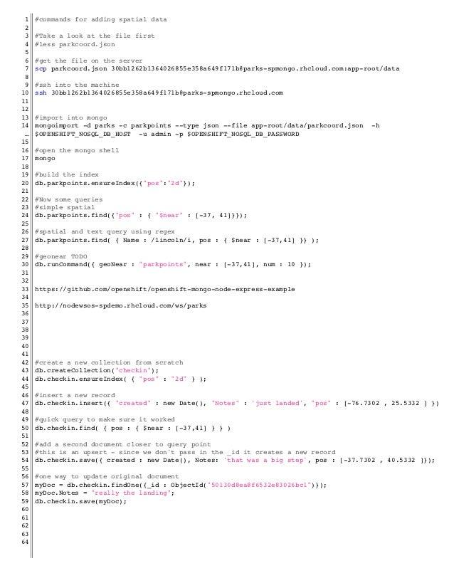 Spatial script for CIMA