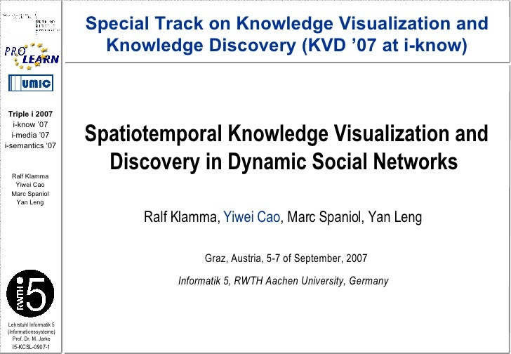 Spatiotemporal Knowledge Visualization and Discovery in Dynamic Social Networks  Ralf Klamma,  Yiwei Cao , Marc Spaniol, Y...