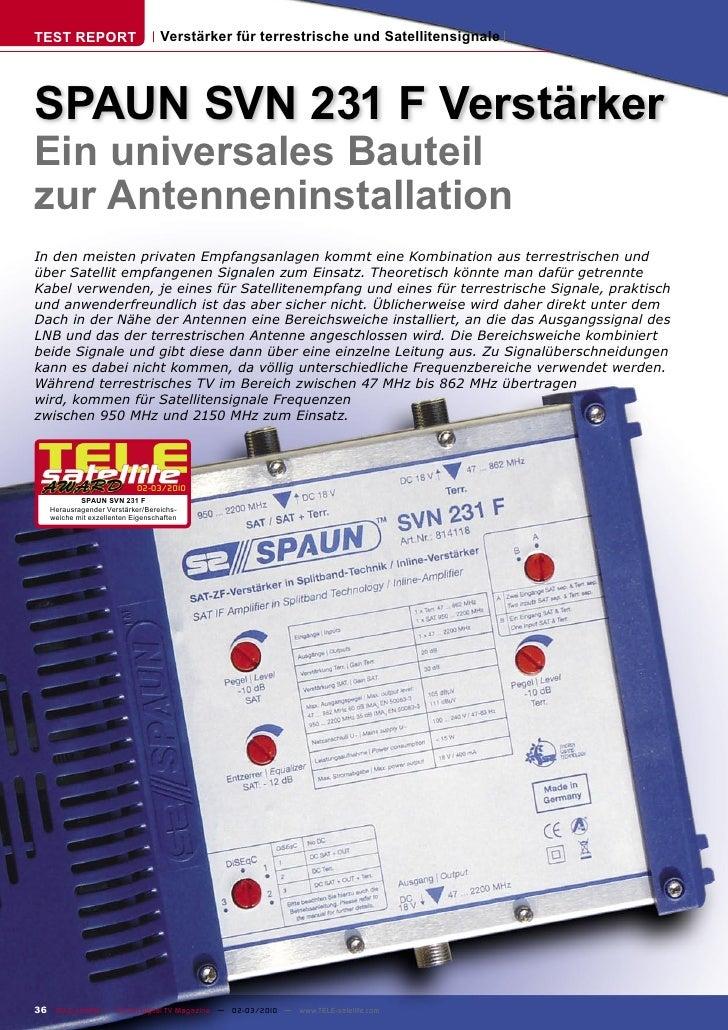 TEST REPORT                       Verstärker für terrestrische und Satellitensignale     SPAUN SVN 231 F Verstärker Ein un...