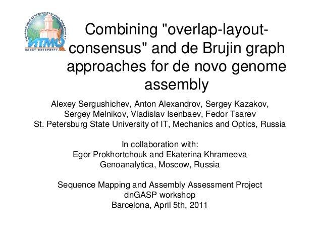 "Combining ""overlap-layout-        consensus"" and de Brujin graph        approaches for de novo genome                  ass..."