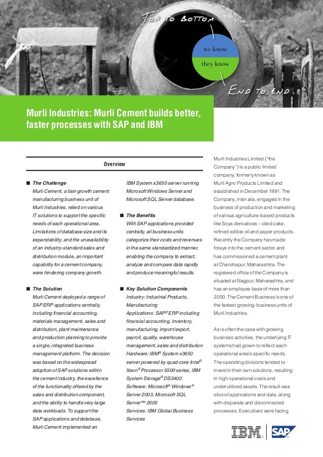 Murli Industries: Murli Cement builds better, faster processes with SAP and IBM