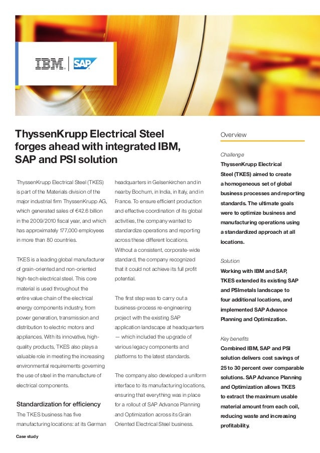 ThyssenKrupp Electrical Steel forges ahead with integrated IBM, SAP and PSI solution