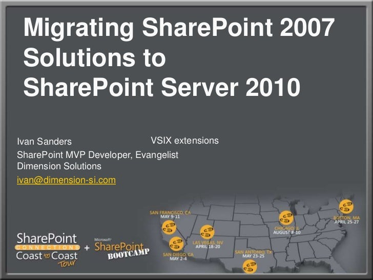 Migrating SharePoint 2007 Solutions to SharePoint Server 2010<br />VSIX extensions <br />Ivan Sanders<br />SharePoint MVP ...