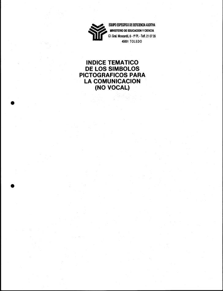 simbolos pictograficos para la comunicación - indice tematico
