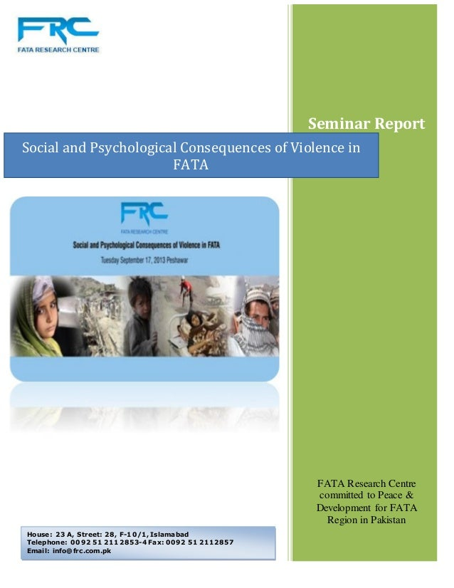Social and Psychological Consequences of Violence in  FATA (September 2013)