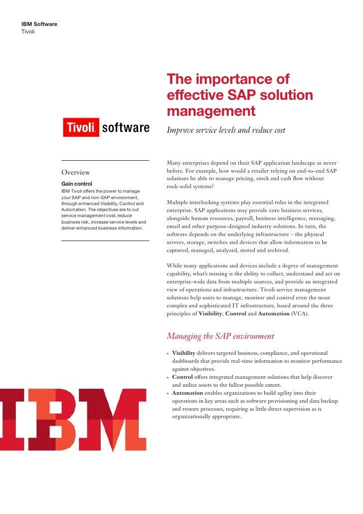 IBM SoftwareTivoli                                                            The importance of                           ...