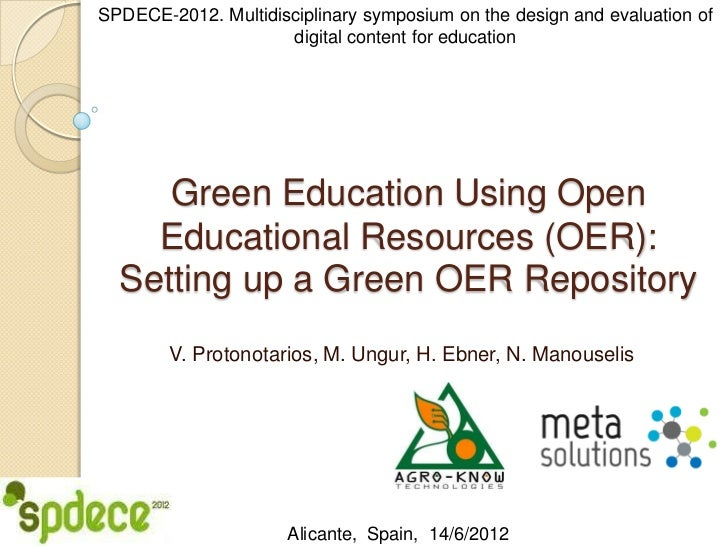 Green Education Using Open Educational Resources (OER) (SPDECE 2012)
