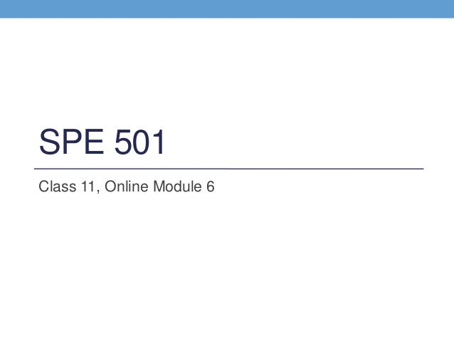 Spe 501 class 11