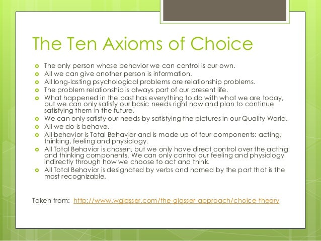choice theory in the classroom pdf