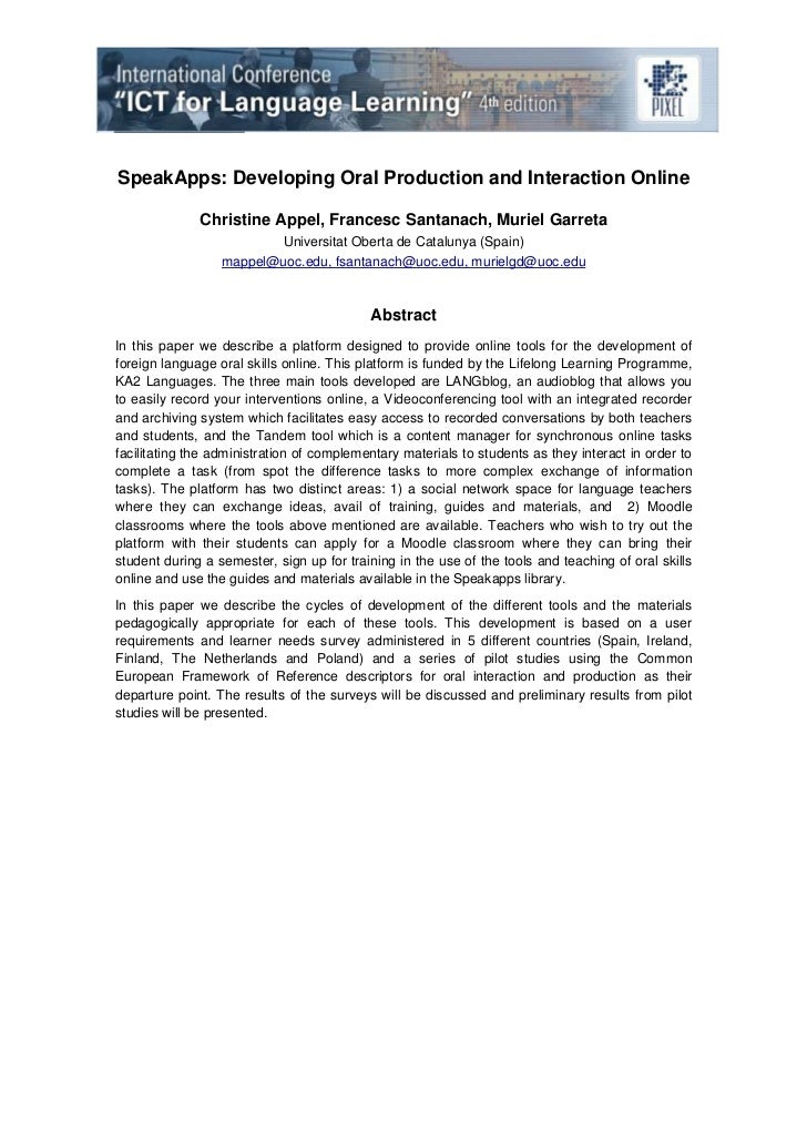 SpeakApps: Developing Oral Production and Interaction Online              Christine Appel, Francesc Santanach, Muriel Garr...
