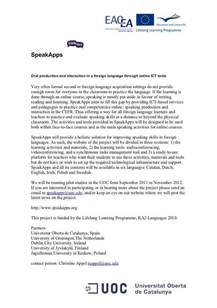 SpeakApps Hand-out