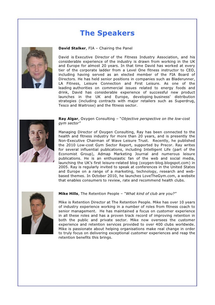 Speakers' Information