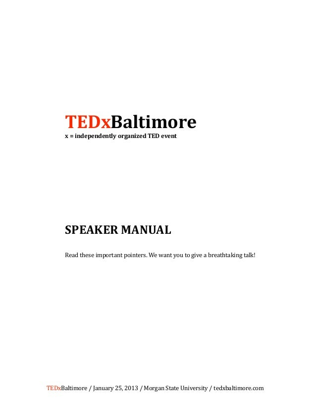 TEDxBaltimore 2013 - Speaker Manual