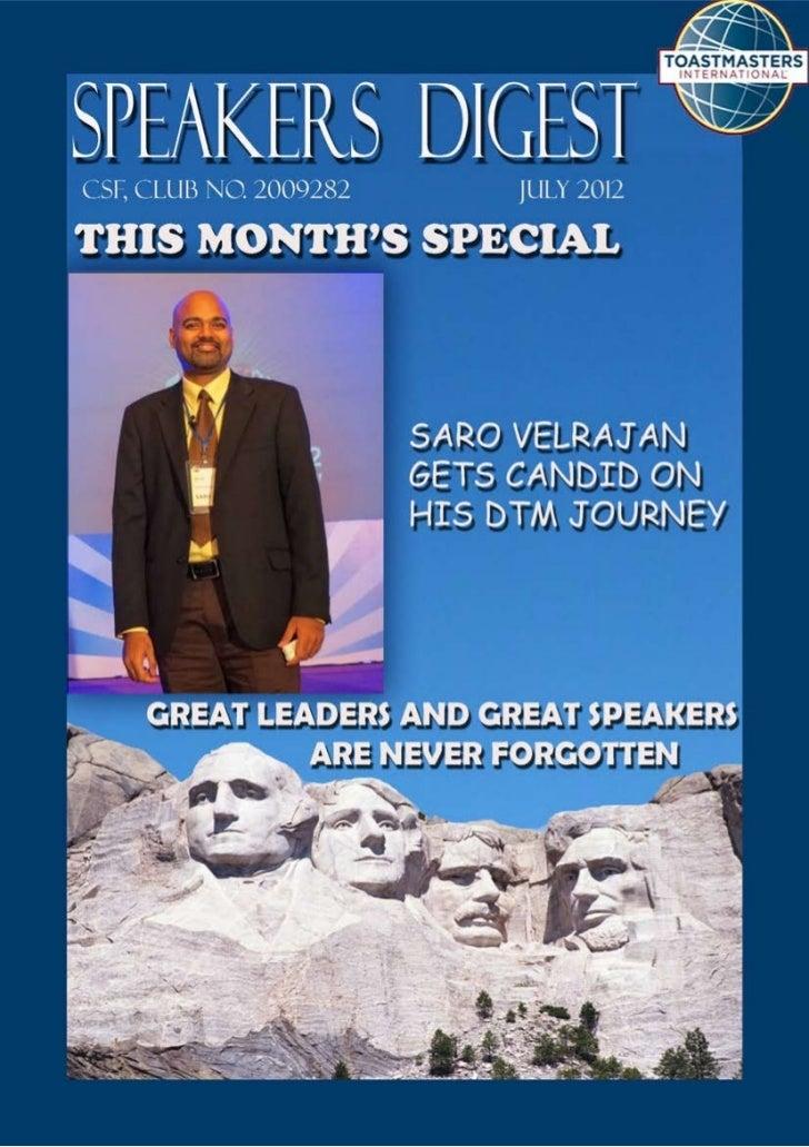 Speakers Digest - July, 2012