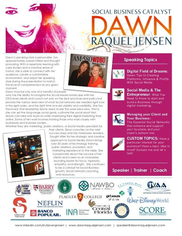 Dawn Raquel Jensen Speaker Sheet: Social Media Speaker, Digital Marketing Coach & Trainer