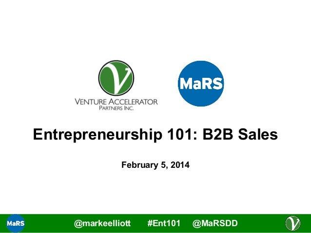 B2B Sales - Entrepreneurship 101 (2013/2014)