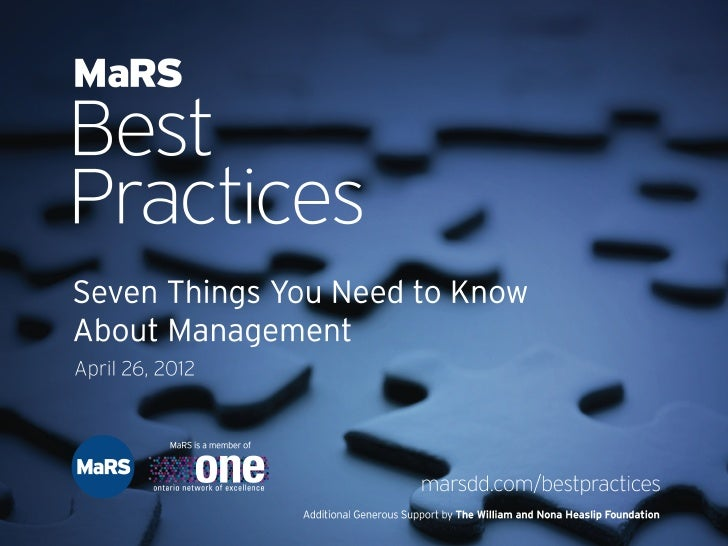 Seven Things You Need to Know About Management - MaRS Best Practices