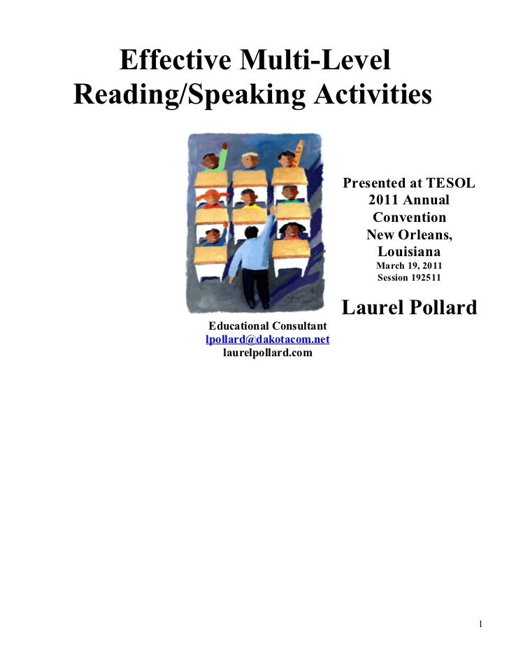 Effective Multi-LevelReading/Speaking Activities                                   Presented at TESOL                     ...