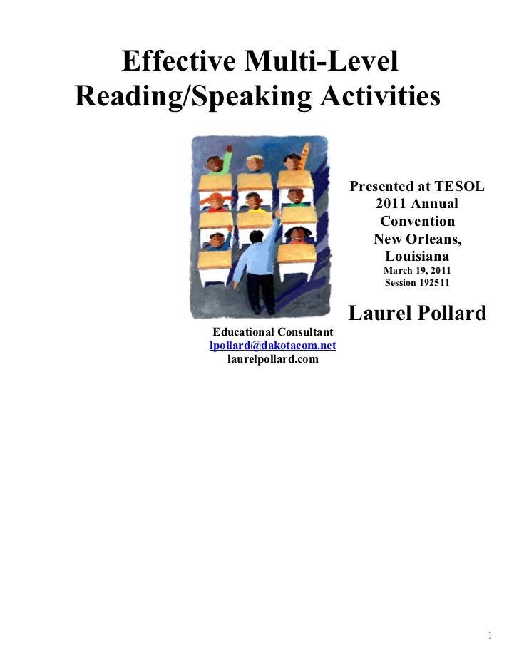 Effective Multi-Level Reading/Speaking Activities