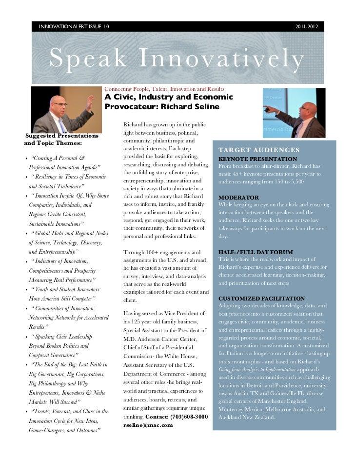 Speak innovatively   richard seline