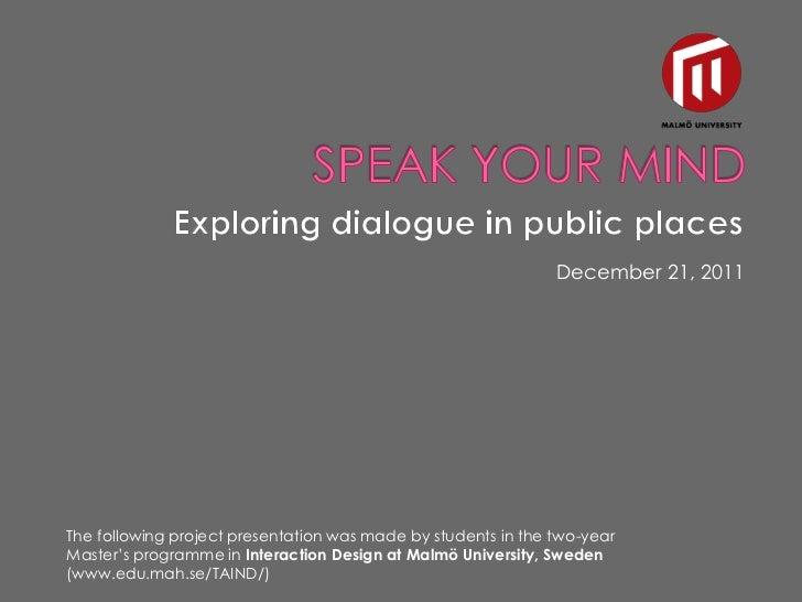 Speak your mind stand alone prisantation 1