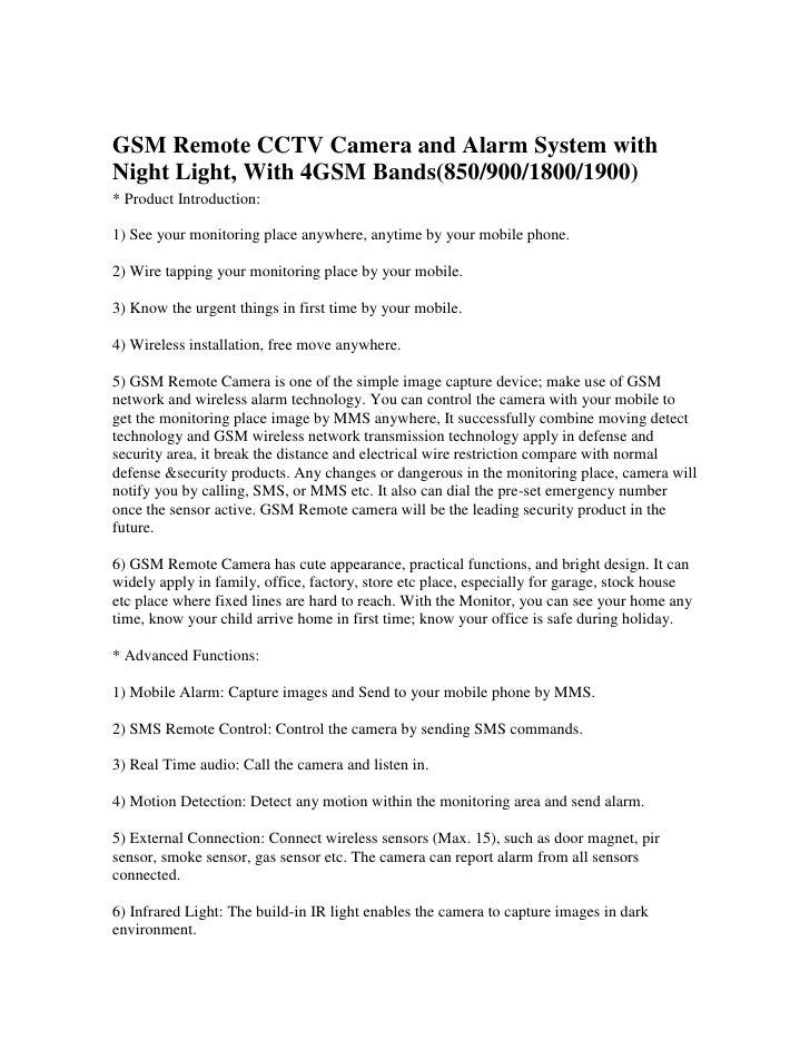 GSM Remote CCTV Camera and Alarm System with Night Light, With 4GSM Bands(850/900/1800/1900) <br />* Product Introduction:...