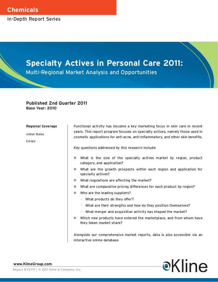 ChemicalsIn-Depth Report Series          Specialty Actives in Personal Care 2011:          Multi-Regional Market Analysis ...