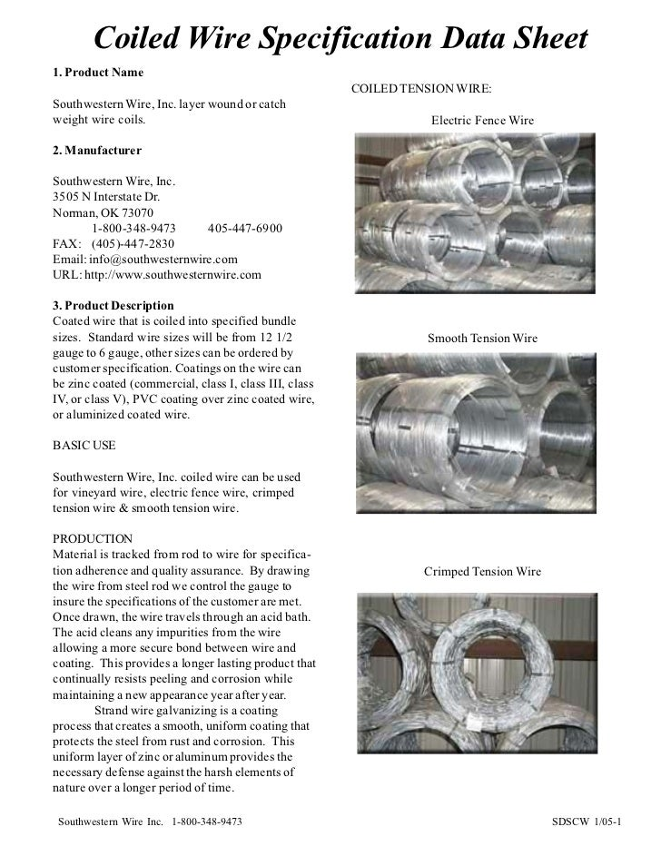 Coiled Wire Specification Data Sheet1. Product Name                                                        COILED TENSION ...