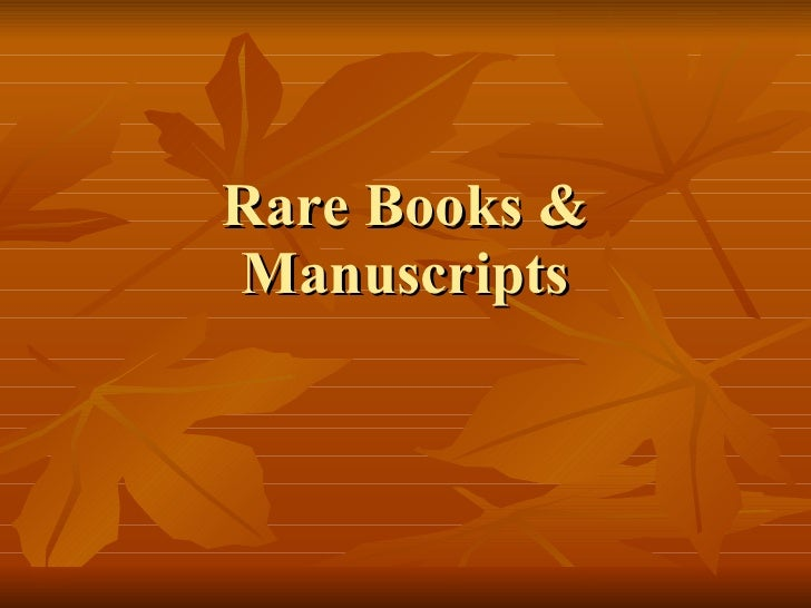 Rare Books & Manuscripts