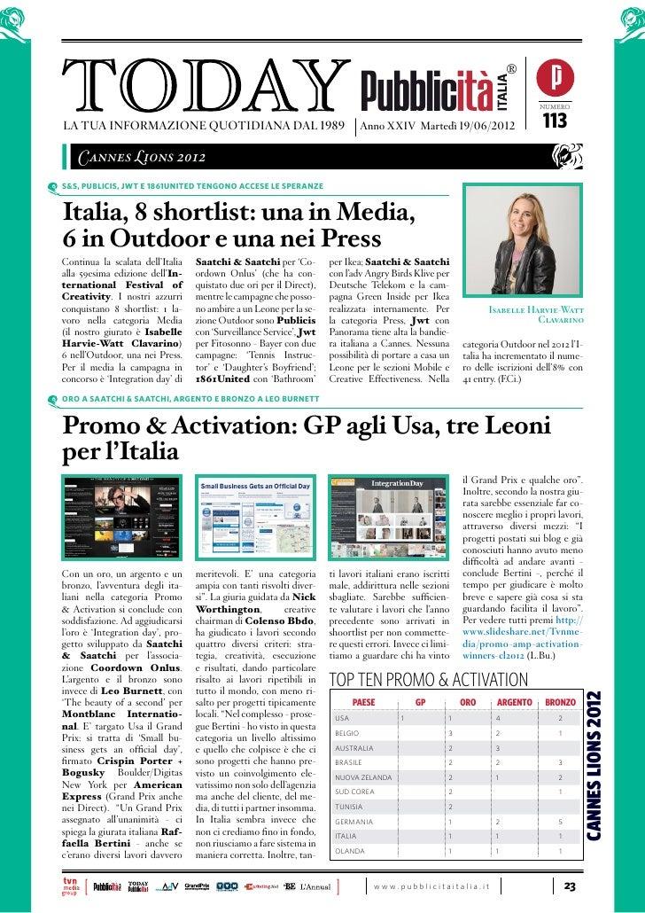 Today Pubblicità Italia - Speciale Cannes 19/06/2012