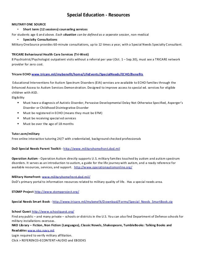 Special education resources 2010