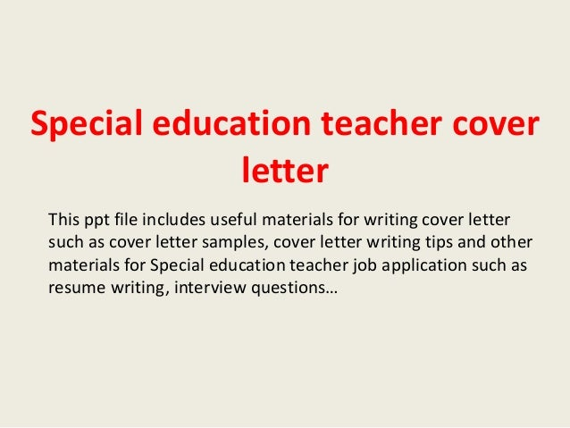 Cover letter special education teacher examples