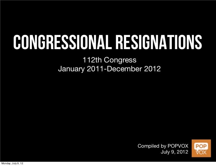 Congressional Resignations in the 112th